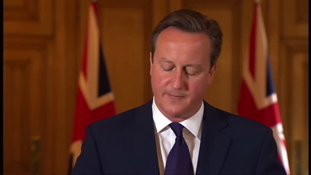 interior shots of british prime minister david cameron giving speech on the execution of david haines and the terror threat posed by isis isil on... - isis execution stock videos & royalty-free footage
