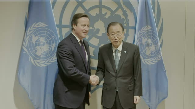 Interior shots of British Prime Minister David Cameron meeting with UN Secretary General Ban Ki Moon>> on September 27 2015 in New York City