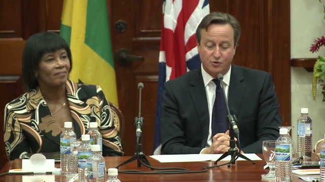 interior shots of british prime minister david cameron speaking during a bilateral meeting with portia simpson miller, prime minister of jamaica.>>... - portia simpson miller stock videos & royalty-free footage