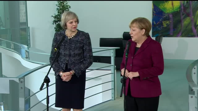 Interior shots of British Prime Minister Theresa May and German Chancellor Angela Merkel walking in to hold a joint press conference>> on November 18...