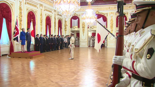 Interior shots of British Prime Minister Theresa May and Japanese Prime Miniister Shizo Abe inspecting troops inside Akasaka Palace on 31st August...