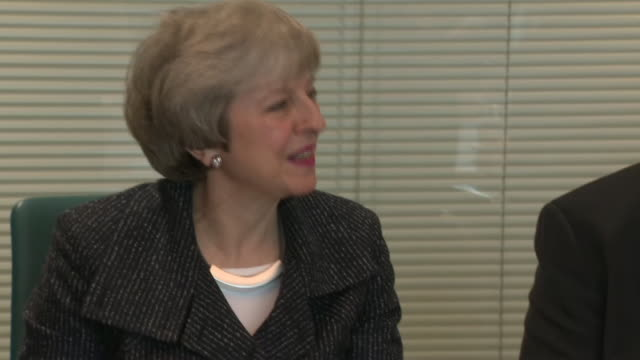 interior shots of british prime minister theresa may at a roundtable meeting at allstate in belfast during her visit to belfast on 5th february 2019... - governmental occupation stock videos & royalty-free footage