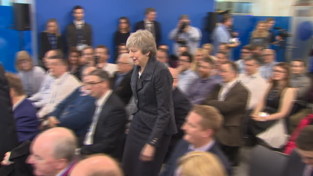 interior shots of british prime minister theresa may giving a speech amid brexit concerns on 5th february 2019 in belfast northern ireland - governmental occupation stock videos & royalty-free footage