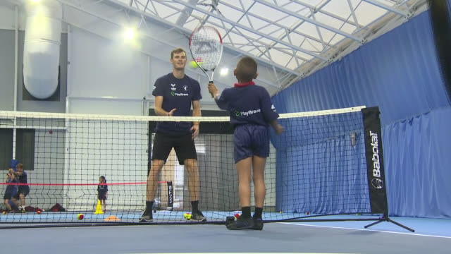 Interior shots of British tennis player Jamie Murray hosting a PlayBrave x Rackets Cubed Charity Tennis Initiative For InnerCity Schools at...