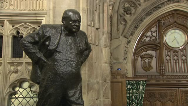 interior shots of bronze statues of former british prime ministers inside the houses of parliament including those of winston churchill and margaret... - winston churchill prime minister stock videos and b-roll footage