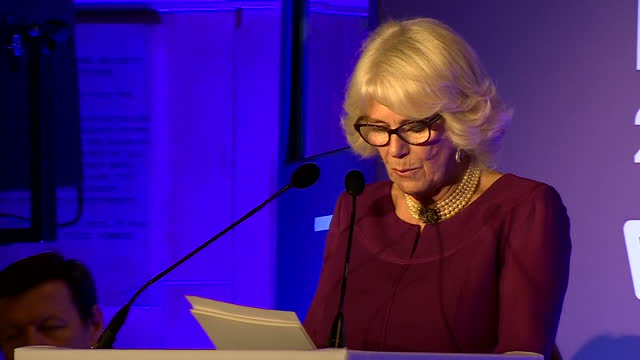 Interior shots of Camilla Duchess of Cornwall addressing the audience at the Man Booker Prize awards on October 25 2016 in London England