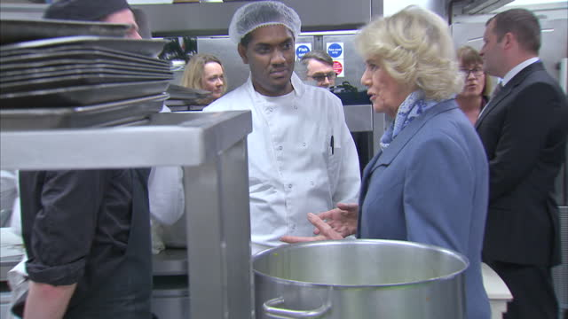 Interior shots of Camilla Duchess of Cornwall being shown round Kitchen in Brixton Prison chatting with inmates and staff on February 04 2016 in...