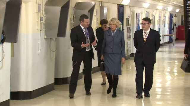 Interior shots of Camilla Duchess of Cornwall being shown round Brixton Prison on February 04 2016 in London England