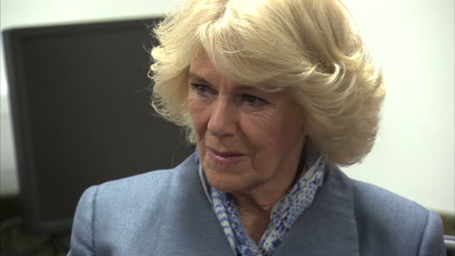 Interior shots of Camilla Duchess of Cornwall chatting with presenters of National Prison Radio inside Brixton Prison on February 04 2016 in London...