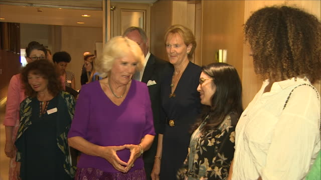 "interior shots of camilla, duchess of cornwall, meeting authors and others at a royal society of literature ""40 under 40"" induction at the british... - literature stock videos & royalty-free footage"