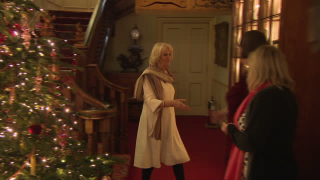 Interior shots of Camilla Duchess of Cornwall meeting charity representatives inside Clarence House on 13th December 2017 London England