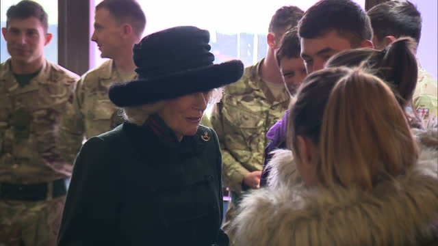 interior shots of camilla duchess of cornwall meeting servicemen from the 4th batallion the rifles and their families during a visit to normandy... - aldershot stock videos & royalty-free footage
