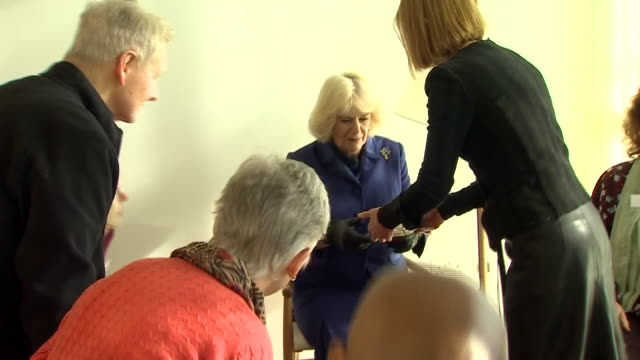interior shots of camilla duchess of cornwall meets with participants of a mindfulness session to hear how the centre has helped them through their... - mindfulness stock videos & royalty-free footage
