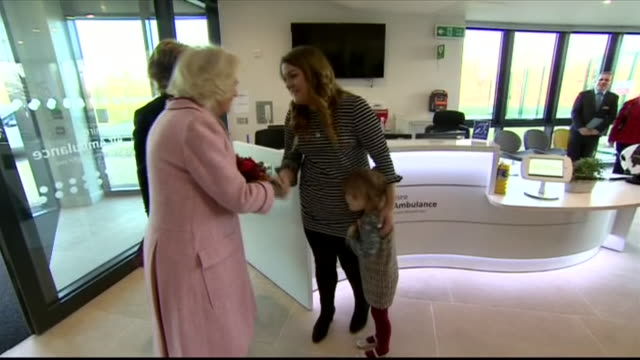 interior shots of camilla duchess of cornwall on a visit to wiltshire air ambulance meeting various people on 14 december 2018 in chippenham, united... - チッペナム点の映像素材/bロール