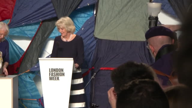 interior shots of camilla duchess of cornwall presenting the queen elizabeth ii award for british design to designer betthany williams at the london... - awards ceremony stock videos & royalty-free footage