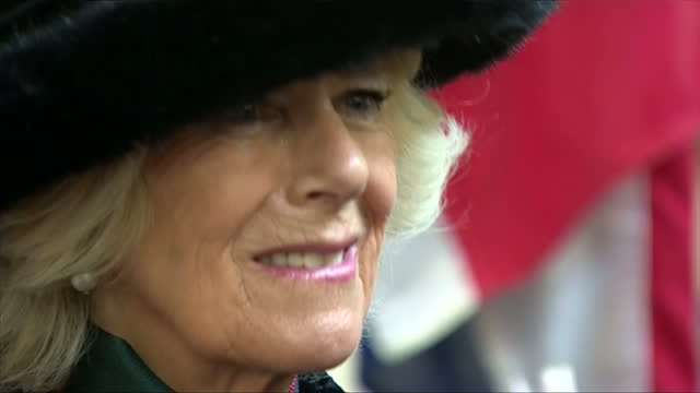 Interior shots of Camilla Duchess of Cornwall speaking to guests at a reception at the Guildhall following a service to honour members of the British...