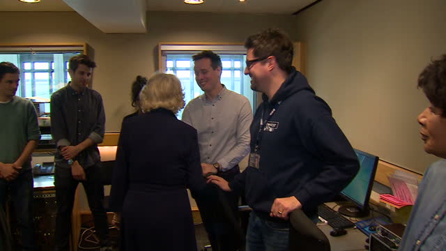interior shots of camilla, duchess of cornwall speaking to newsreader moira stewart and members of production staff during a visit to bbc radio 2 on... - bbc radio stock videos & royalty-free footage