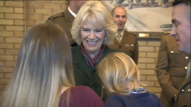 stockvideo's en b-roll-footage met interior shots of camilla duchess of cornwall speaking to servicemen and veterans from the 4th battalion the rifles and their family members during a... - aldershot