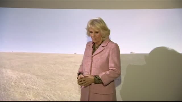 interior shots of camilla duchess of cornwall watching a demonstration by air ambulance paramedics of rescue techniques on 14 december 2018 in... - チッペナム点の映像素材/bロール