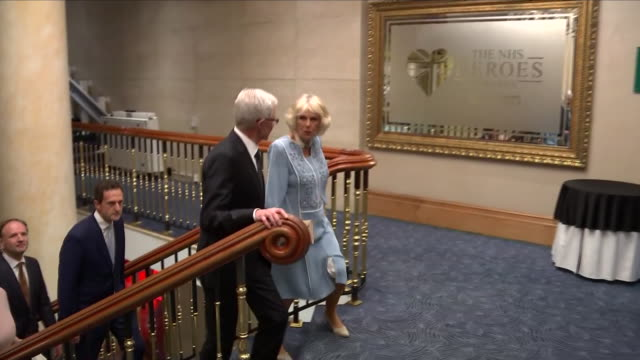 interior shots of camilla the duchess of cornwall and paul o'grady walking through the park lane hilton hotel and meeting various officials for the... - paul o'grady stock videos & royalty-free footage