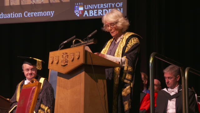 interior shots of camilla, the uks duchess of cornwall gives speech during ceremony at university of aberdeen on 14 january 2020 in aberdeen,... - aberdeen scotland stock videos & royalty-free footage