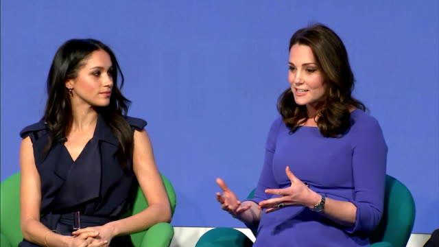 interior shots of catherine duchess of cambridge and meghan markle speaking during the first annual royal foundation forum>> on february 28 2018 in... - königshaus stock-videos und b-roll-filmmaterial