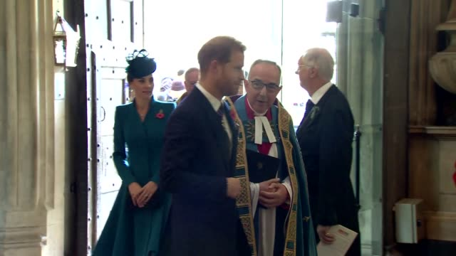 interior shots of catherine, duchess of cambridge and prince harry, duke of sussex entering westminster abbey for anzac day service on 25th april... - anzac day stock videos & royalty-free footage