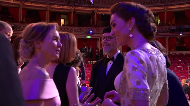 interior shots of catherine duchess of cambridge and renée zellweger at the baftas awards on 2nd february 2020 in london england - british academy film awards stock videos & royalty-free footage