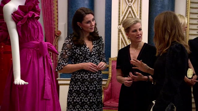 interior shots of catherine duchess of cambridge and sophie, countess of wessex looking at a dress with stella mccartney, anna wintour and livia... - sophie rhys jones, countess of wessex stock videos & royalty-free footage