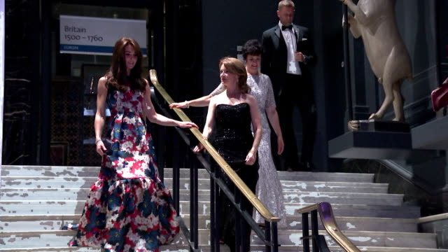 Interior shots of Catherine Duchess of Cambridge entering hall for the 100 Women in Hedge Funds black tie dinner at Victoria and Albert Museum...