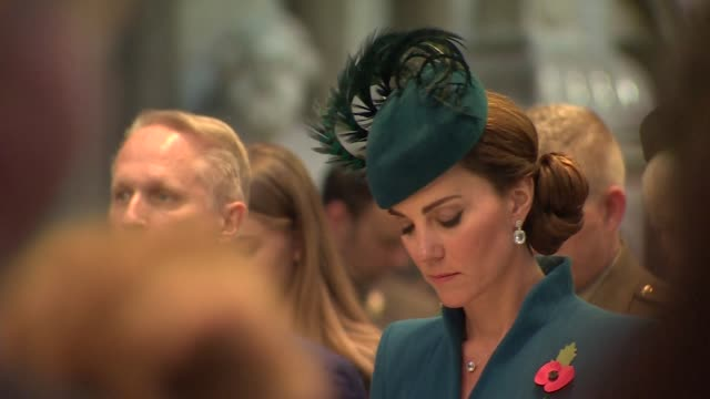 interior shots of catherine, duchess of cambridge in westminster abbey during anzac day service on 25th april 2019 in london, england. - anzac day stock videos & royalty-free footage