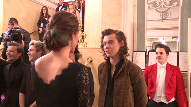 Interior shots of Catherine Duchess of Cambridge Kate Middleton meeting One Direction band members Niall Horan Liam Payne Louis Tomlinson Zayn Malik...