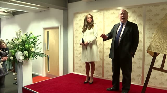 interior shots of catherine, duchess of cambridge listening to julian fellowes speaking on stage and being presented with a signed copy of the script... - julian fellowes stock videos & royalty-free footage