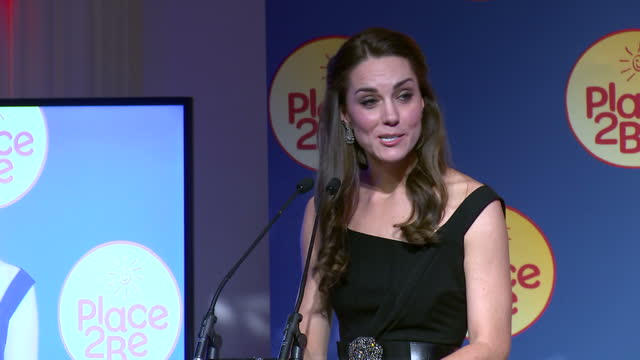 Interior shots of Catherine Duchess of Cambridge making a speech at the Place2Be Wellbeing in Schools Awards calling for an end to the stigma...
