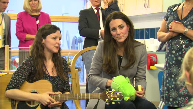 interior shots of catherine duchess of cambridge meeting children and parents during a music therapy group at shooting stars house children's hospice... - music therapy stock videos & royalty-free footage
