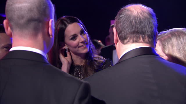 vídeos de stock, filmes e b-roll de interior shots of catherine, duchess of cambridge meeting officials and guests at the sportsball charity gala. duchess of cambridge attends the... - gala