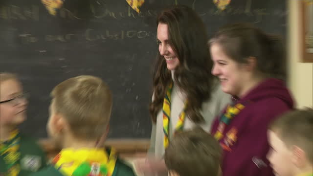 interior shots of catherine duchess of cambridge playing a trust game with children at a cub scout pack meeting on december 14 2016 in king's lynn... - cub scout stock videos and b-roll footage