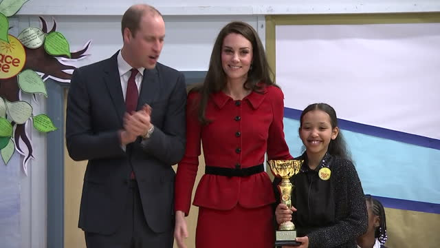 Interior shots of Catherine Duchess of Cambridge presenting the first Place2Be Kindness Cup to Nadia Dichis a pupil at Mitchell Brook Primary School...