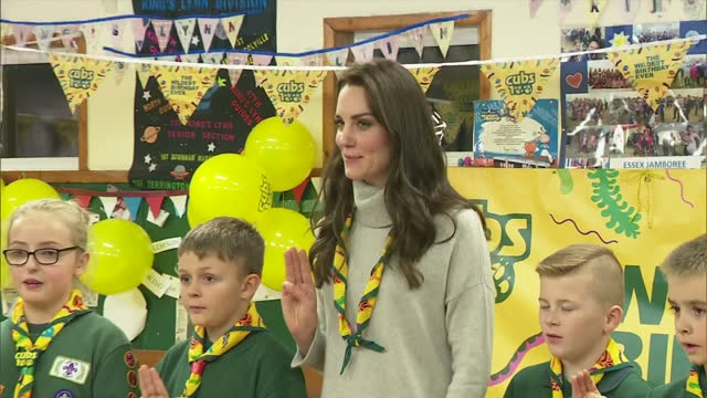 interior shots of catherine duchess of cambridge renewing her cub scout promise with other cub scouts at a cub scout pack meeting on december 14 2016... - cub scout stock videos and b-roll footage