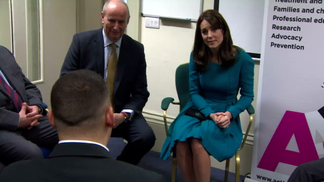 interior shots of catherine duchess of cambridge sitting in discussion with members of action on addiction charity on december 10 2015 in warminster... - duchess of cambridge stock videos and b-roll footage