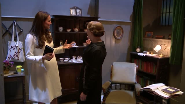 Interior shots of Catherine Duchess of Cambridge speaking to actress Phyllis Logan on the Downton Abbey kitchens set at Ealing Studios>> on March 12...