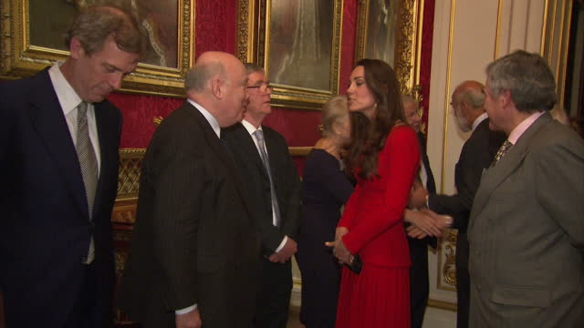 interior shots of catherine, duchess of cambridge speaking to guests including dame helen mirren and julian fellowes>> on february 17, 2014 in... - julian fellowes stock videos & royalty-free footage
