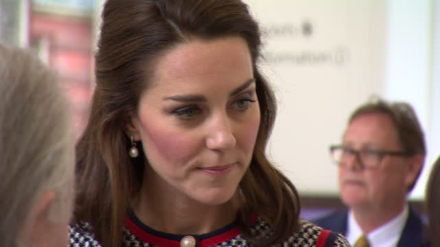 interior shots of catherine duchess of cambridge speaking to guests at a reception in blavatnik hall the victoria and albert museum's new entrance... - victoria and albert museum london stock videos & royalty-free footage