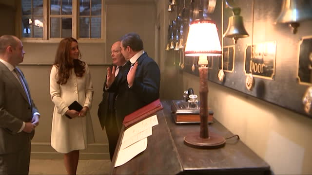 interior shots of catherine, duchess of cambridge speaking to members of the downton abbey cast and crew including julian fellowes and brendan coyle... - julian fellowes stock videos & royalty-free footage