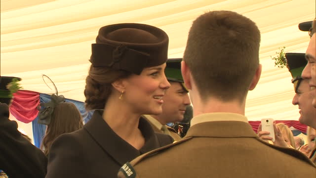 interior shots of catherine, duchess of cambridge speaking to members of the 1st battalion irish guards during st patrick's day celebrations at mons... - aldershot stock videos & royalty-free footage