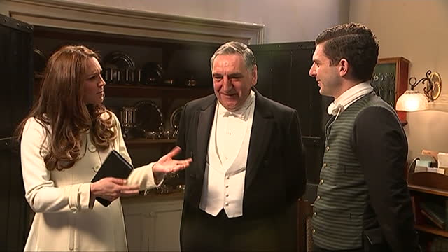 interior shots of catherine, duchess of cambridge speaking with actors jim carter, allen leech and downton abbey series creator julian fellowes... - julian fellowes stock videos & royalty-free footage
