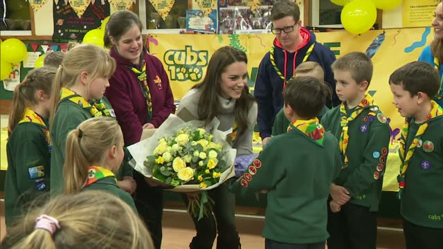 interior shots of catherine, duchess of cambridge thanking cub scout pack for inviting her to their meeting and receiving flowers & presents for... - 6 7 years stock videos & royalty-free footage