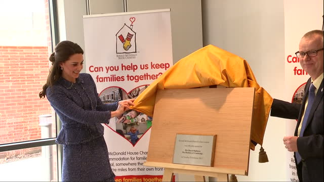 interior shots of catherine duchess of cambridge unveiling a commemorative plaque to mark the official opening of ronald mcdonald house evelina... - plaques stock videos & royalty-free footage