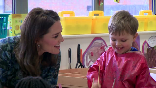 interior shots of catherine, duchess of cambridge visiting reach academy and speaking with nursery school pupils taking part in an art class on... - art class stock videos & royalty-free footage