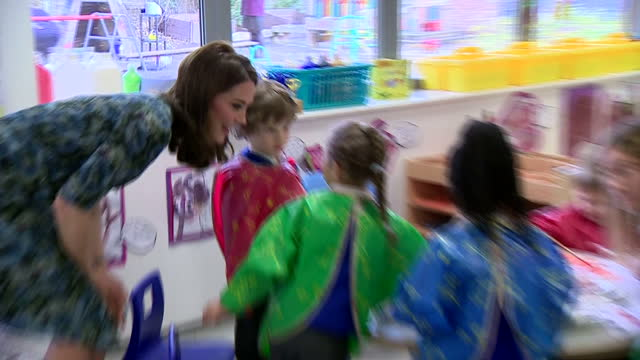 interior shots of catherine duchess of cambridge visiting reach academy and speaking with nursery school pupils taking part in an art class on... - art class stock videos & royalty-free footage
